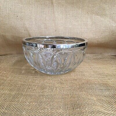 Lead Crystal Glass Bowl with Silver Plate Mount, England