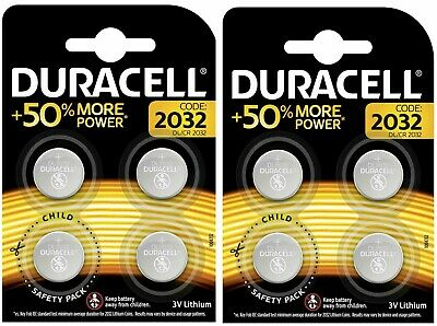 2 Packs of 4 Pack DURACELL DL/CR 2032 3V Lithium Coin Cell Battery Batteries