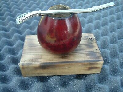 Argentina Mate Gourd Yerba Tea Cup With Straw Bombilla -Gourd Red