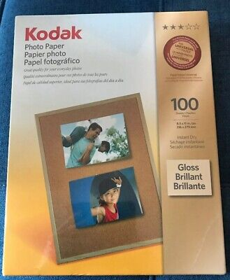 "New Kodak Inkjet Gloss Photo Paper 8.5"" X 11"" 100 Sheets Instant Dry"