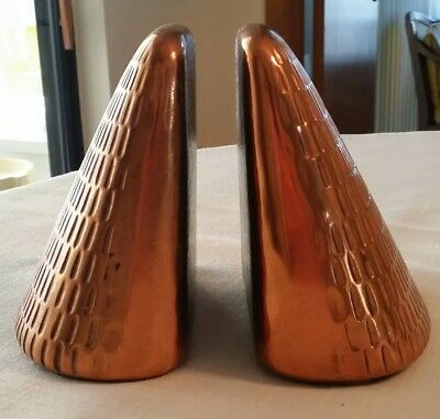 Vintage Jenfred-ware by Ben Seibel Copper Patina Pyramid Bookends, 1950s