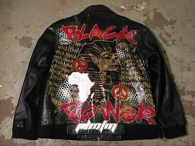 Custom made Hand painted black panther power Africa Leather jacket sz. M NEW