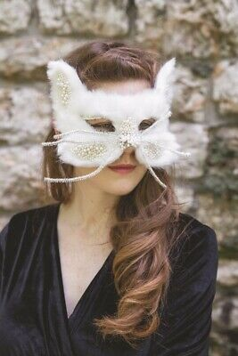 Victorian Trading Co Furry Beaded WHITE Cat Halloween Masquerade Mask