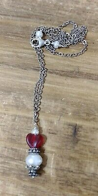Victorian Trading Co NWOT Sterling Silver Red Heart & Pearl Necklace 28Q