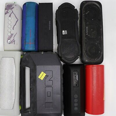 Lot of 19 MIXED BLUETOOTH PORTABLE SPEAKERS FOR PARTS ONLY