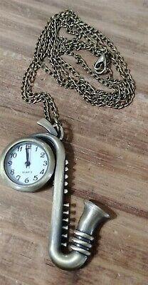 Victorian Trading Co Saxophone Watch Pendant &  Necklace 28H
