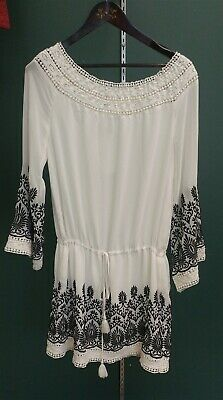 Victorian Trading Co White Off Shoulder Tunic Black Embroidery LG 26B