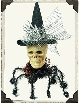 Victorian Trading Co Halloween Skull Spider Witches Hat Flashing Red Eyes 2B