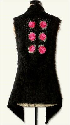 Victorian Trading Co Black Pink Faux Fur Fluffy Crochet Roses Vest Small 13D