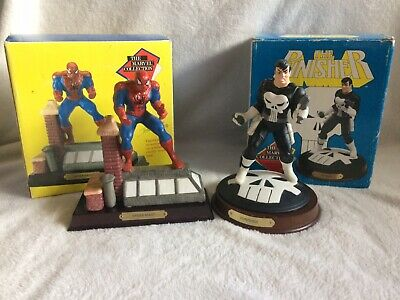 Vintage 1990 Marvel Collection Spider-Man & Punisher Collectible Statues In Box