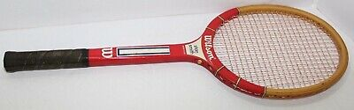 Vintage Wilson Stan Smith American Wood Tennis Racket Red & Brown Wooden Racquet