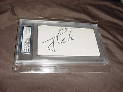 PRESIDENT JIMMY CARTER signed auto BOOK page cut PSA/DNA slabbed