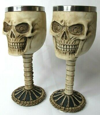 Skull Wine Goblets x 2 Pewter/ Stainless Steel - Chalice