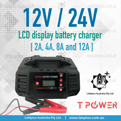 12V 24V 2A 4A 8A 12A for STD AGM GEL Lithium lifepo4 Battery Charger LCD display
