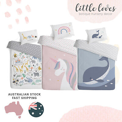 Baby Cot Quilt Set Doona Cover 100% Cotton Brand New AU Seller