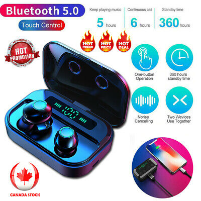 Bluetooth 5.0 Headset TWS Wireless Earphones Twins Earbuds Stereo Headphone CA