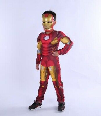 Boys Deluxe Iron Man Costume Marvel Avengers  Child Fancy Dress Outfit New S,M,L