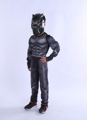 Kids Boys Black Panther Superhero The Avengers Fancy Dress Costume  New S,M,L