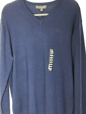 NWT Hart Schaffner Marx Extra Fine Merino Wool V-Neck Blue Sweater Size Large S