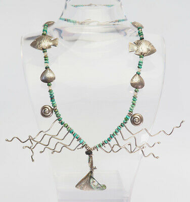 Vintage artisan marine shells fish abalone turquoise sterling silver necklace