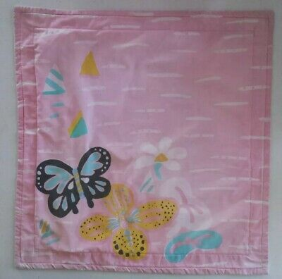 VINTAGE Ken Done CUSHION COVER Pink Butterflies Iconic 80s original Well Loved