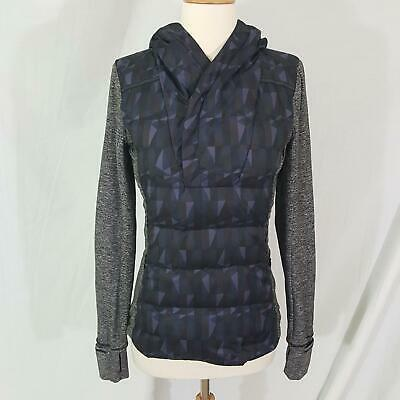 Lululemon Fluff Off Pullover Stained Glass Love Nightfall Black Goose Down sz 4