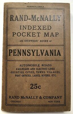 Rand-McNally Indexed Pocket Map and Shippers' Guide of Pennsylvania / 1917