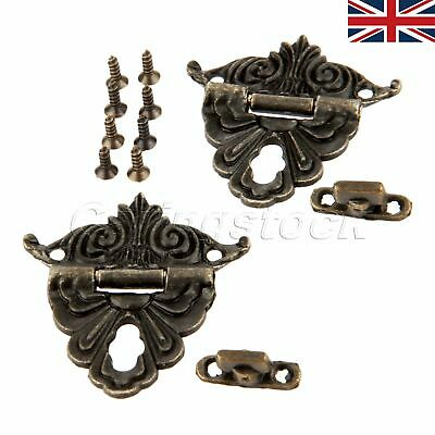 UK STOCK 2pcs Antique Bronze Jewelry Gift Box Latch Hasp Wooden Chest Decorative