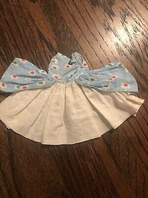 1950's Vintage Vogue/Alexanderkins/Ginny White And baby blue Printed House Dress