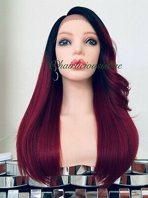 wine red lace front wig Burgundy Ombré Black Heat Resistance Ok 20 Inch Long