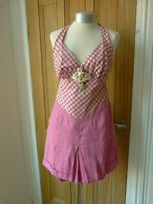 Vintage inspired 1940's /50's style playsuit, summer, check halterneck.