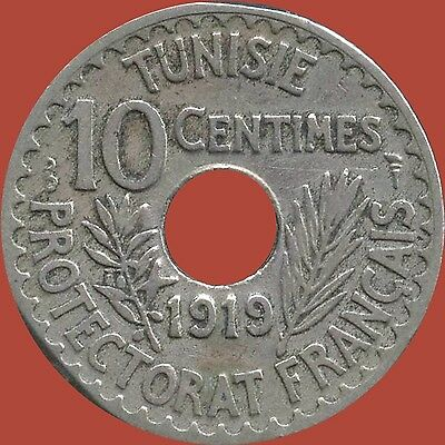 1919 Tunisia 10 Centimes Coin