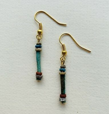 Egyptian Colourful Faience Beads Earrings Jewellery C.1300 B.C. Gold Plated Hook