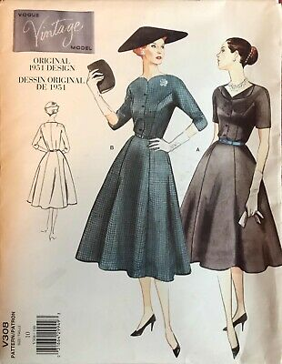 Vtg 50s Vogue Vintage Model Pattern V308 Dress Belt 10 Uncut