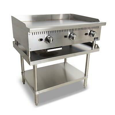 Three Burner Commercial Flat Griddle/Hotplate - 910MM WIDTH - Natural Gas