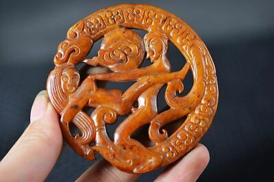 Chinese Old Jade Carved *Dragon/Sexy Man&Woman* Lucky Pendant Z13