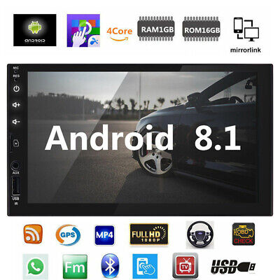 """Android 8.1 Car Stereo GPS Navigation Radio Player Double Din WIFI 7"""" SD AUX+CCD"""