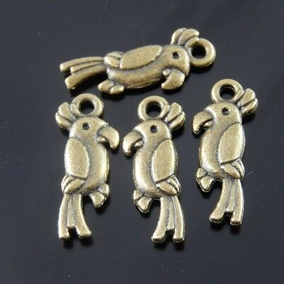 70pcs Antique Style Silver Tone Alloy Bird Parrot Charm Pendant Finding 32649