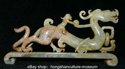"""8"""" Old China Natural Hetian Jade nephrite Carved Dragon Beast Man Lucky Figure"""