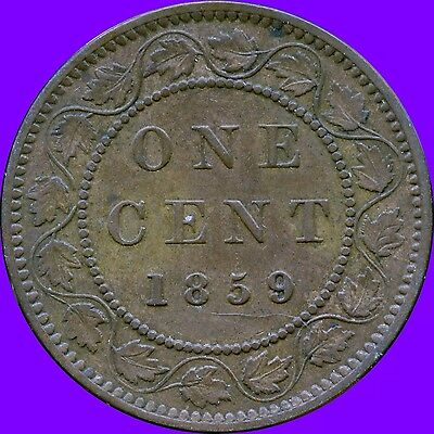 1859 (Wide 9 Over 8 ) Canada Large Cent