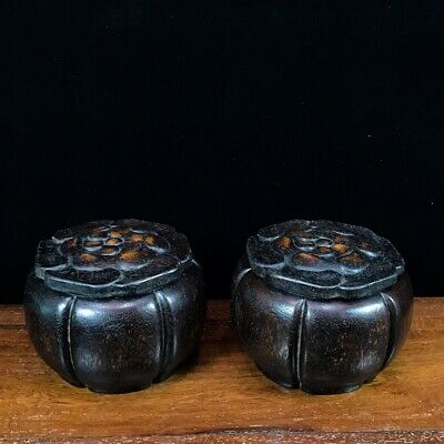 """5"""" China old antique huanghuali wood handcarved weiqi jar pot A pair statue D3"""