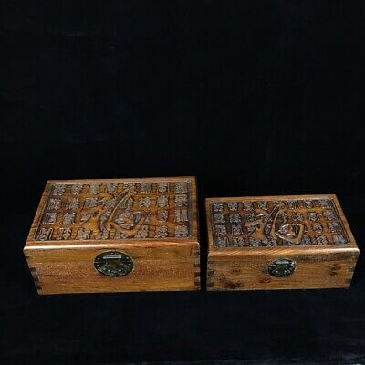 Chinese old antique huanghuali wood handcarved fu word box statue A SET