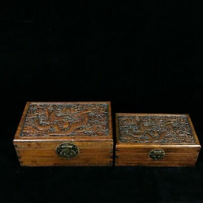 Chinese old antique huanghuali wood handcarved dragon pattern statue A SET E1