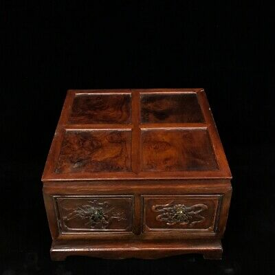 "12"" Chinese old antique huanghuali wood handcarved locker Chest box statue D2"