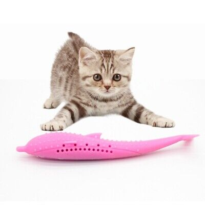 Pets Cat Fish Shape Toothbrush Silicone Molar Stick Teeth Cleaning Toy Cats NEW