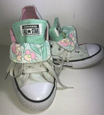 Converse All Star Junior Girls Size 3 Double Tongue Green Floral