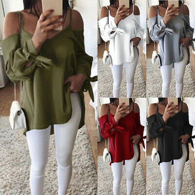 Womens Cold Off Shoulder Tops T Shirt V Neck Long Sleeve Loose Casual Blouse Tee