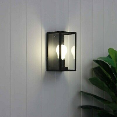 South Beach Hamptons Style Outdoor Wall Light Sconce Black Metal W/ Clear Glass