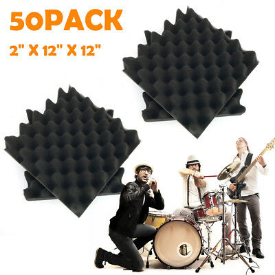 """50 Pack 12"""" X 12"""" X 2""""Acoustic Foam Panel Wedge Studio Soundproofing Wall Tiles"""