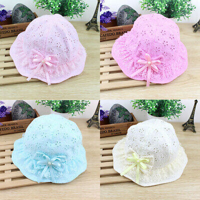 Cotton Cute Baby Girl Summer Hat Bow-Knot Lace Fisherman Hat  For 0-2YRS Gift